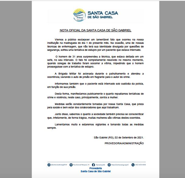 Nota Oficial Santa Casa de São Gabriel